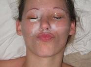 Bonne éjaculation faciale - Belle salope